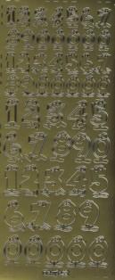 Zier-Sticker-Bogen-Lustige Fun Zahlen-gold-8439g