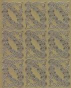 Zier-Sticker-Bogen -verschnörkelte Ecken-gold-8483g