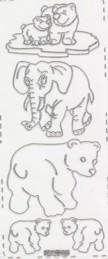 Zier-Stickerbogen-Eisbären /Elefant-transparent-silber-8490trs
