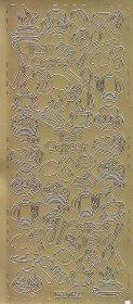 Zier-Sticker-Bogen-Kaffee, Tee und Kuchen-gold-8493g