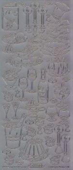Zier-Sticker-Bogen-Speisen und Getränke-silber-8524s