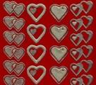 Zier-Stickerbogen-doppelte Herzen-matt/glänzend-rot/gold-9013rg