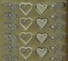 Zier-Sticker-Bogen-9013g-doppelte Herzen-matt/glänzend-gold