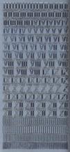 Zier-Sticker-Bogen-Römische Zahlen-silber-9018s
