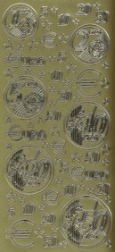Zier-Sticker-Bogen-Euro Zeichen-Münzen -gold-9023g