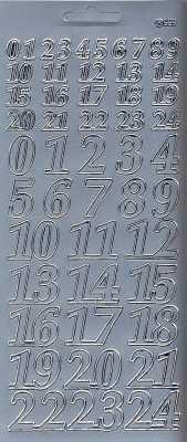 Zier-Sticker-Bogen-Adventkalender-Zahlen-silber-9106s