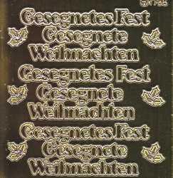Zier-Sticker-Bogen-Spiegelfolie-Gesegnete(s)Weihnachten-Fest-gold-9115spg