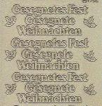 Diamant-Zier-Sticker-Bogen-9115dg-Gesegnete(s)Weihnachten-Fest-gold