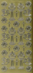 Zier-Sticker-Bogen-Christliche Motive-gold-9145g