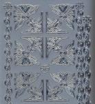 Zier-Sticker-Bogen-verschiedene Ecken und Ränder-silber-9156s