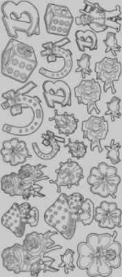 Zier-Sticker-Bogen-Glücksbringer/Symbole-silber-9470s