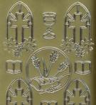 Zier-Sticker-Bogen-christliche Motive-Ähren,Bibel,Fenster-gold-9925g