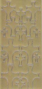 Zier-Sticker-Bogen-Christliche Motive-Kreuze-gold-9927g