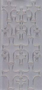 Zier-Sticker-Bogen-Christliche Motive-Kreuze-silber-9927s