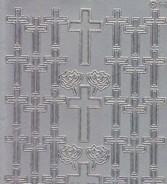 Zier-Sticker-Bogen-doppelte Kreuze-silber-9942s