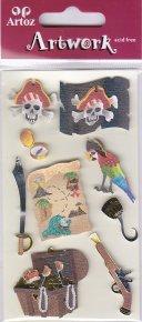 Artoz-3D Sticker-Artwork-Embellishments-80-24-Pirat /Schatztruhe