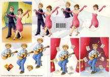 3D Etappen-Bogen-Tänzer und Musiker -Card Deco- CD 10011