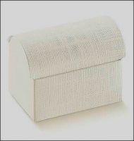 10 Kartonagen-Geschenkverpackung-Fausto-Cofanetto-Truhe-weiß-Leinenstruktur