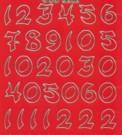 Zier-Sticker-Bogen-Zahlen-groß geschrieben-rot/gold-6202rg