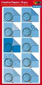 Doodey-Karten-Creative-Papier-10 Bogen-A4-DV94320 blau
