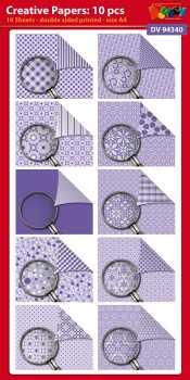 Doodey-Karten-Creative-Papier-10 Bogen-A4-DV94340 lila / flieder
