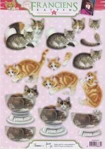 3D Stanzbogen -EASY371 - Franciens Katten- Katze mit Jungtier