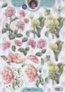 3D Stanzbogen -EASY376 - Rosen und Orchideen