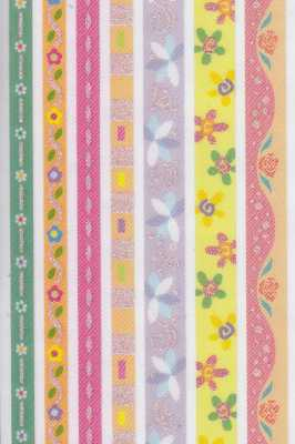 Glitter Ribbon Sticker-Stoffbordüren FSG400-0 -verschiedene Blumen/ z.B. Rosen-selbstklebend