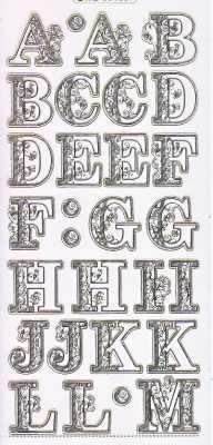 Gravur-Sticker-Bogen-Initialen-Buchstaben A -M -transparent-gold-GR 1557trg