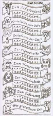 Gravur-Sticker-Bogen-GR 3406trg-Texte-Glückwünsche-Schule-Baby-u.v.m-transparent-gold