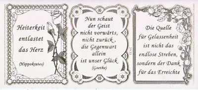 Fesselnd Gravur Sticker Bogen Texte Leichtigkeit Gelassenheit Sprüche Transparent Gold GR  3933trg