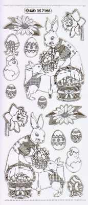 Gravur-Sticker-Bogen-GR 7106trg-Motive für Ostern und Frühjahr-transparent-gold