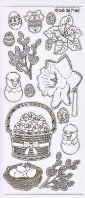 Gravur-Sticker-Bogen-GR 7108trg-Motive für Ostern und Frühjahr-transparent-gold