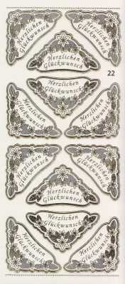 Gravur-Sticker-Bogen-GR 0022trg-Ecken-Texte-Herzlichen Glückwunsch-transparent-gold