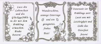 Gravur Sticker Bogen Texte Frühjahr Ostern Sprüche Transparent Gold GR  3966trg