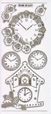 Gravur-Sticker-Bogen-Uhren-Wand und Kuckucksuhr-transparent-gold-GR 6651trg