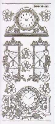 Gravur-Sticker-Bogen-Uhren-Stand und Sanduhren-transparent-gold-GR 6653trg