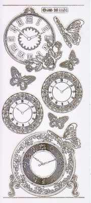 Gravur-Sticker-Bogen-Uhren-Stand und Wanduhren-transparent-gold-GR 6654trg