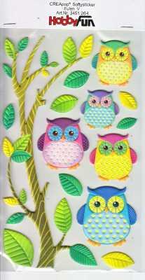 CREApop-Softy-Sticker-Bogen-HobbyFun-HF264 Eulen