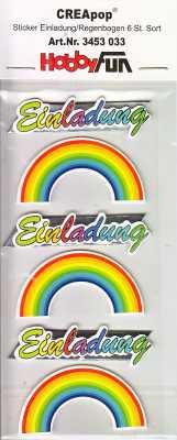 3D Sticker-Creapop-HobbyFun-HF3033-Kommunion/Konfirmation-Taufe-Einladung-Regenbogen