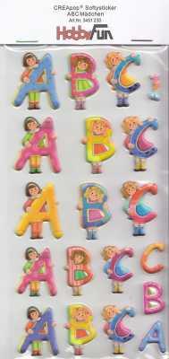 CREApop-Softy-Sticker-Bogen-HobbyFun-HF230-ABC Mädchen