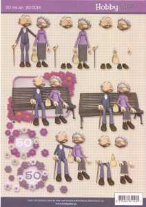 3D-Etappen-Bogen-50 ter Geburtstag- Oma / Opa auf der Bank- HI 0016