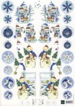 3D Bogen--Marianne Design-Schneemann-gespiegelte Motive-IT 507