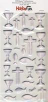 CREApop-Softy-Sticker-Bogen-HobbyFun-HF167-Zur Kommunion/Konfirmation/Taufe-silber