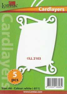 5 x Kartenaufleger-Lomiac Cardlayers-Schriftrolle-creme-LL2103