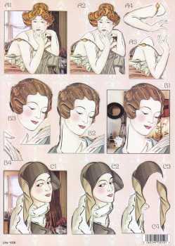 3D Stanzbogen- Line 1006 -Frauen- Portrait- mit Goldfolie veredelt