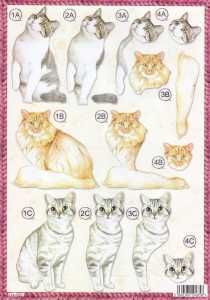 3D Stanzbogen- Line 0622 - Katzen - verschiedene Rassen