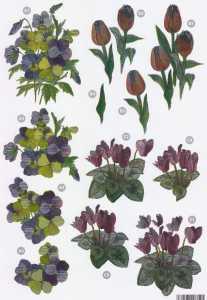 3D Stanzbogen- Line M748 -Metallgravur-Blumen-Tulpen -Stiefmütterchen