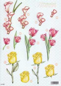 3D Stanzbogen- Line  986 -Blumen- Rose / Tulpe / Cala