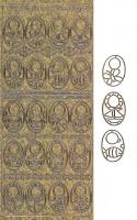 Zier-Sticker-Bogen-0375g-Schlabberlätzchen-antik-gold